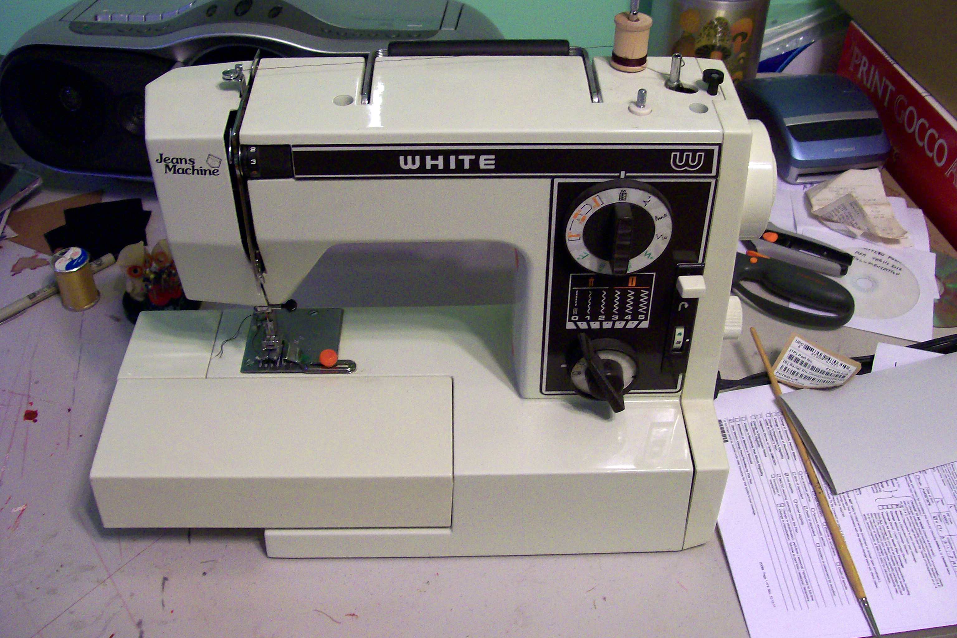 White Jeans Sewing Machine